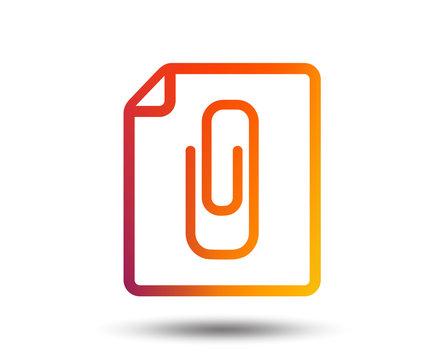 File annex icon. Paper clip symbol. Attach symbol. Blurred gradient design element. Vivid graphic flat icon. Vector