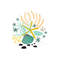 Vector sea floral arrangement