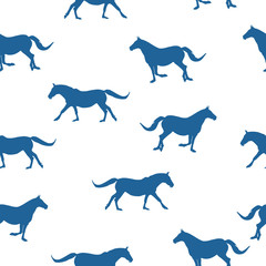 Seamless animals pattern blue silhouette horses running