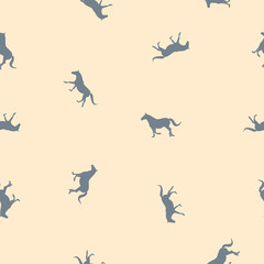 Seamless pattern small gray horses on yellow, pastel colors