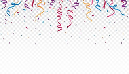 Celebration with Colorful ribbon and confetti, isolated on transparent background