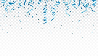 Blue confetti and ribbon, isolated on transparent background