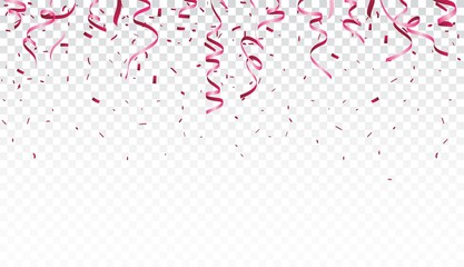Beautiful ribbon and confetti isolated on transparent background