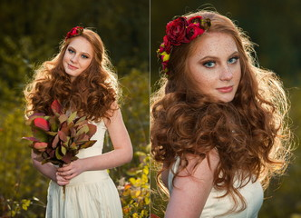 Red haired girl in autumn forest. Beautiful girl in autumn forest. Beautiful elegant red hair girl standing in a park in autumn. Outdoors portrait of beautiful girl with red hair and blue eyes