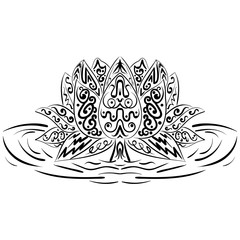 Lotus flower. Water lily Zentangle element