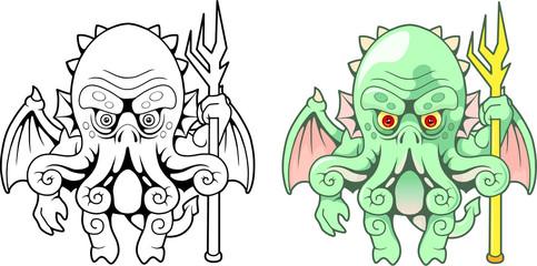 cartoon sea monster Cthulhu, funny illustration