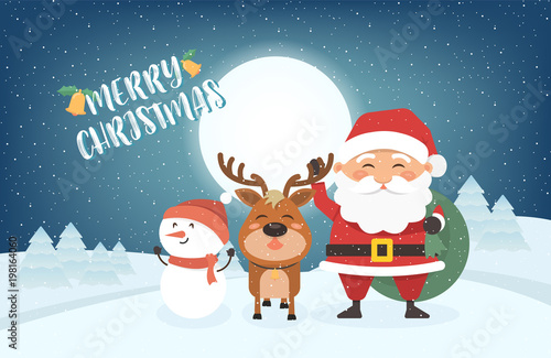 Merry Christmas Poster 2018.Happy Merry Christmas Vector Illustration Greeting Card