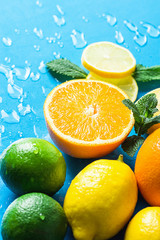 Variety of Citrus Organic Fruits Whole and Halved Oranges, Sliced Lemons Lime Fresh Mint on Light Blue Background with Water Drops. Morning Sunlight. Superfoods Antioxidants Vitamins Healthy Diet