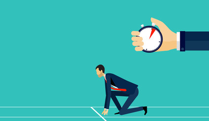 flat vector businessman starting in track with hand hold stopwatch and business start up concept
