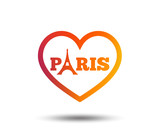 Eiffel tower icon paris symbol heart sign orange for Paris orange card