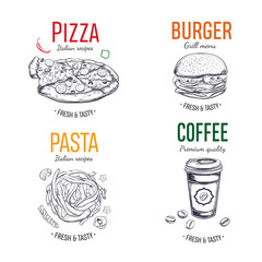 Set of vector labels, logo, stickers for Fastfood menu. Pizza, Burger, Coffee, Pasta. Hand drawn illustration in sketch style
