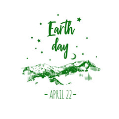 Earth day poster. Vector typographic design template. Hand drawn illustration
