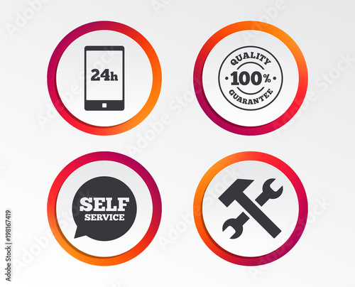 repair fix tool icons 24h customer support service signs 100