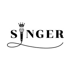 singer word design with microphone