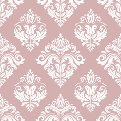 Classic seamless vector pattern. Damask orient ornament. Classic vintage purple and white background