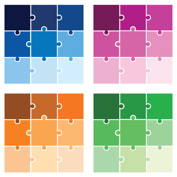 puzzle - jigsaw vector set in multiple colors