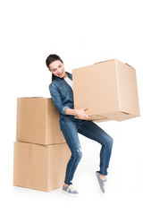 woman moving with cardboard boxes, isolated on white