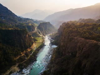 Kali Gandaki river and its deep gorge near Kusma in Nepal