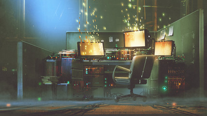 futuristic workspace with sparkling particles floating out of glowing screen, digital art style, illustration painting