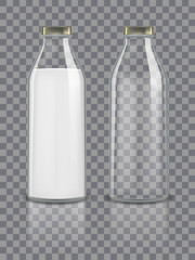 Glass traditional bottles mockup empty and with milk. Dairy product packaging isolated on transparent background. Healthy beverage glass bottle with milk drink. vector illustration