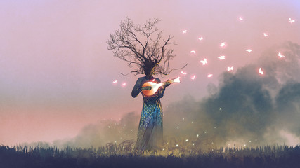 Photo sur Plexiglas Grandfailure creature with branch head playing magic banjo string instrument with glowing butterflies, digital art style, illustration painting