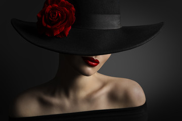 Woman Red Lips and Rose Flower in Hat, Fashion Model Beauty Portrait, Black Retro Wide Brimmed Hat