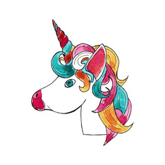 Watercolor hand drawn sketch illustration of unicorn head with a multicolored mane isolated on white