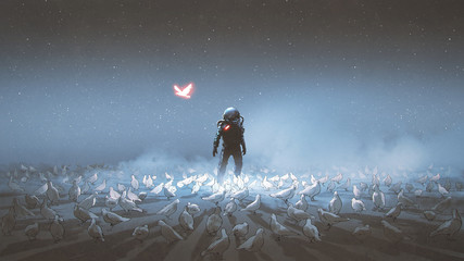 astronaut standing among flock of bird, single glowing unique bird flying around, digital art style, illustration painting.