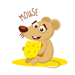 Mouse with cheese Vector illustration isolated