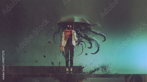 Wall mural horror concept of mystery woman holding the umbrella with black tentacles inside in the rainy night, digital art style, illustration.
