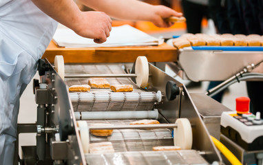 Cookie industry, production line in confectionery factory