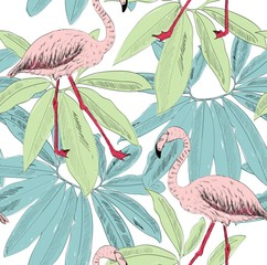 Tropical seamless vector pattern with flamingo and leaves.