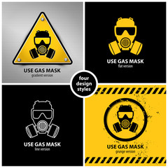 set of gas mask symbols containing four unique design elements in different variations: gradient, flat, line and grunge style, eps10 vector illustration