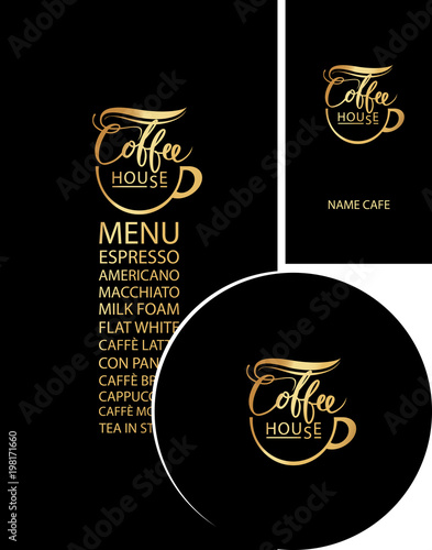 Vector set of design elements for coffee house in black and gold vector set of design elements for coffee house in black and gold corporate identity for reheart Image collections