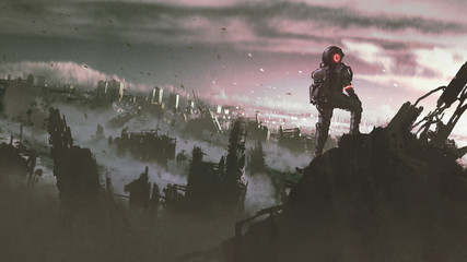 astronaut standing on a ruined building looking at abandoned city, digital art style, illustration painting
