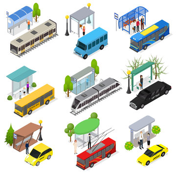 Different Types City Public Transport 3d Icons Set Isometric View. Vector