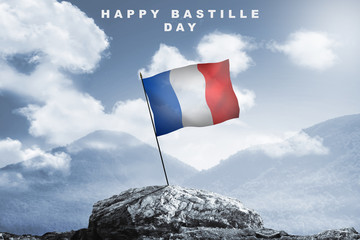 Happy bastille day with france Flag