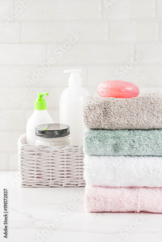 bath accessories: sea salt and towels