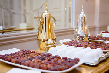 Dates on a tray and decanters