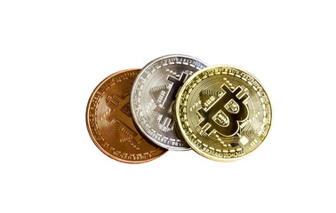 Bitcoins isolated on white background.