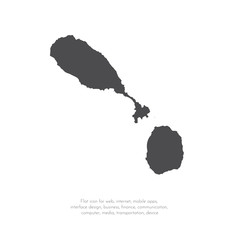 Vector map Saint Kitts and Nevis. Isolated vector Illustration. Black on White background. EPS 10 Illustration.