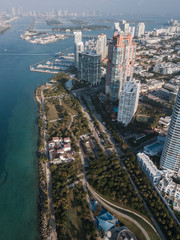 Aerial view of hotels on beach and sea-front, Miami Beach, Florida, USA