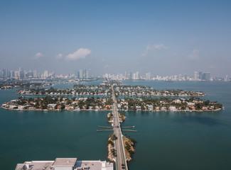 Aerial view of Venetian Islands, Miami Beach, Florida, USA