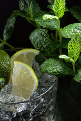 Lime slices in a glass with ice and mint leaves.