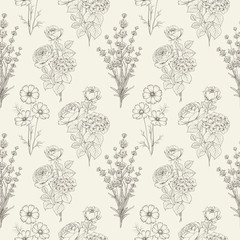 Seamless black and white flower pattern for fabric design. Vector illustration.