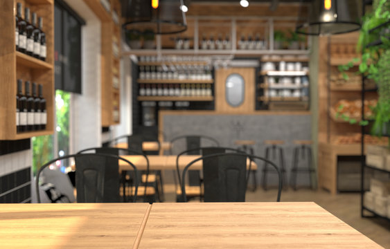 Interior of a cafe with a bar counter. Blurred background and table surface in the foreground. 3D rendering with depth of field.