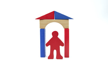 figure red stick man under a wooden archway with the roof of the house on a white background