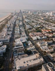 Driveway and cityscape of Miami Beach, Florida, USA