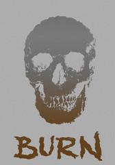 Skull burning vintage