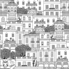 Hand drawn seamless pattern of houses in Athens, Greece